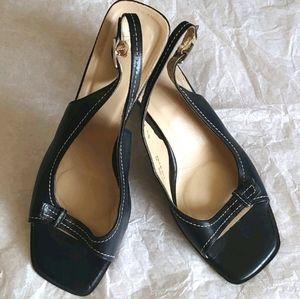 COACH Nora Navy Open Toe Slingback shoes